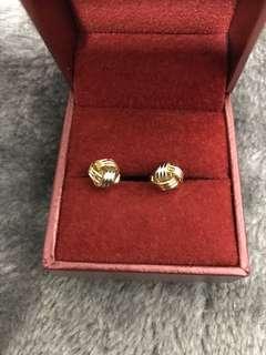 18K gold tri-tone Love knot earrings😍