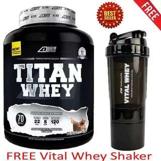 Whey Protein Halal – Titan Whey 2.1kg/4.63lbs,Whey Isolate With 22g Protein, 70 Servings - Fast Muscle Recovery (Chocolate Milkshake) + 3-in-1 Pharmanutri Vital Whey Protein Shaker/Blender/Mixer 17oz/500ml (Black)