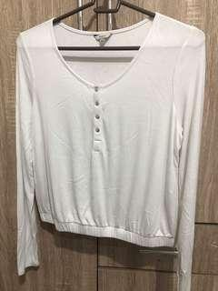 Guess White Long Sleeve Top