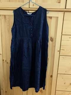韓製無袖藍色暗花裙