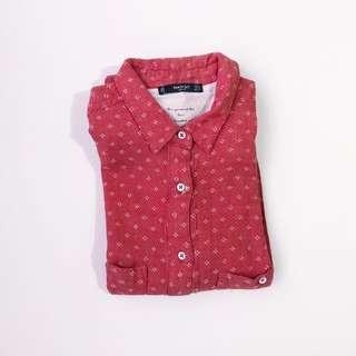 Mango Printed Red Buttondown • Size S