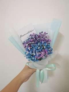VDAY Baby Breath Bouquet G2 blue + purple baby's breath hand bouquet