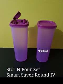 Tupperware Stor N Pour Set Smart Saver Round IV 930ml (2) Retail Price