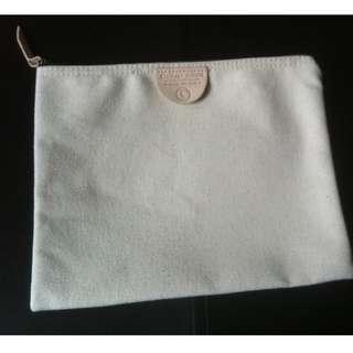 Fleabags beige cotton cavas clutch purse travel cosmetic makeup bag pouch Unisex