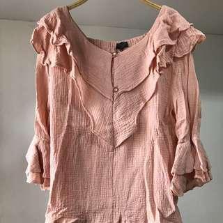 全新*肉粉色荷袖棉麻韓版女裝上衣