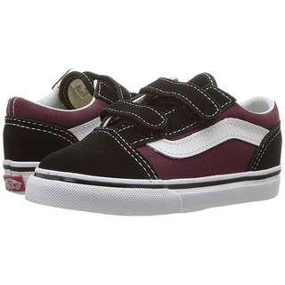 VANS Kids Old Skool V Pop Black OG Burgundy
