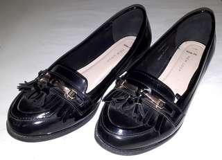 New Look Women's Black Brougues UK7 Wide Fit
