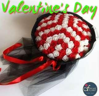 """99 Stalks Red & White🌹Roses (""""Artificial"""" Flower Bouquet) 