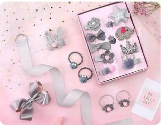 18 pieces Head wear Set Children Elastic Bow knot Hair Clips Crown Rabbit Flower Barrettes Hairpins