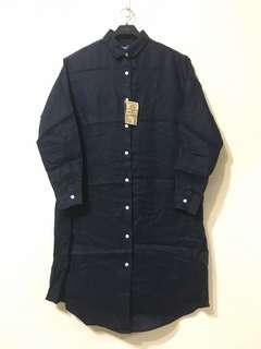 🚚 無印良品 MUJI 襯衫洋裝 襯衫外套 法國亞麻水洗 長版 暗藍