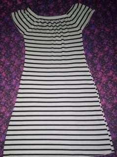 Black and white stretched dress