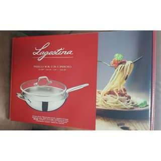 LAGOSTINA 32CM, 5.54 LITRE STIRFRY PAN, WOK WITH LID. MADE IN ITALY
