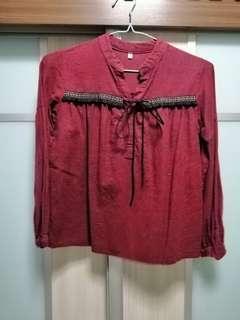 🚚 Maroon Burgundy Tribal Bohemian Long Sleeve Top