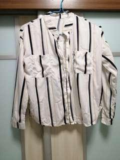 🚚 White Long Sleeves Stripes Top