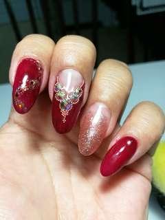 RED PERSIA PRINCESS POLYGEL EXTENSION AB DIAMONDS NAIL ARTS GEL manicure service USJ 1 Subang
