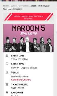 Maroon 5 Concert Tickets (Pair)