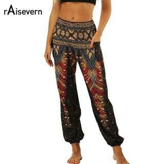 🚚 Vintage Print Women Casual Pants 2018 Summer Boho Beach Elastic High Waist Chiffon Trousers Sporting Pants