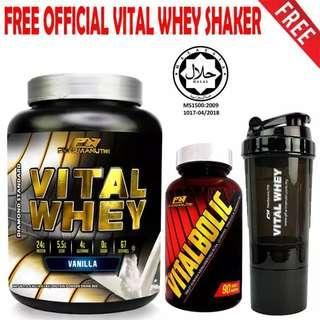 Vitalbolic Muscle Growth Activator, 90 Tablets, 45 Servings (Orange) + Vital Whey 2kg/4.4lbs, Whey Isolate With 24g Protein, 67 Servings - Fast Muscle Recovery (Vanilla) + FREE Official 3-in-1 Pharmanutri Vital Whey Protein Shaker (Black)