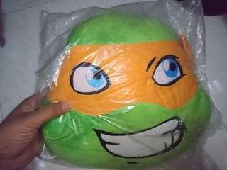 Ninja Turtle Raphael Michaelangelo head pillow