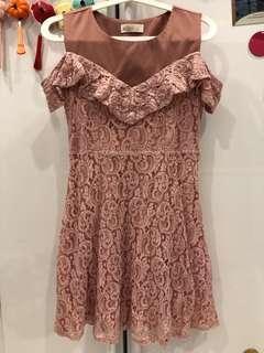 Lacey cold shoulder dress in blush pink
