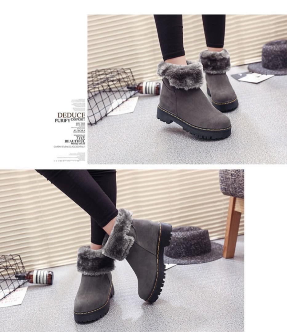 絨毛雪靴(灰色,39號)