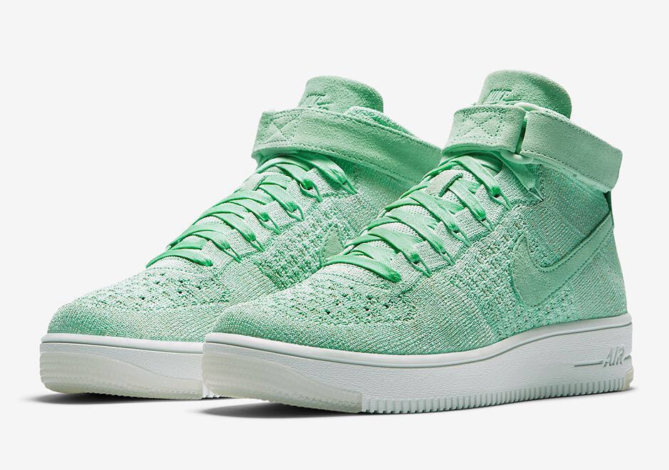 "fabb72e5f732 7.5 WMNS Nike Air Force 1 Mid Flyknit ""Enamel Green"" af1"