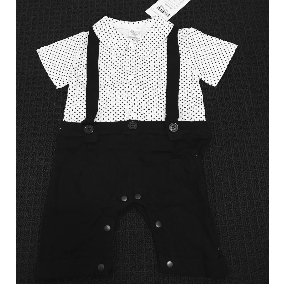 Baby boy 2-piece Bodysuit Romper Bib Overalls Set Polka Dot Bow-knot Plaid Bib