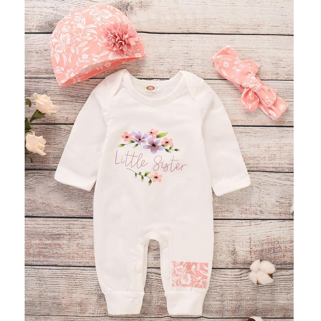 Baby Girl Clothes Romper Jumpsuit Onesie Outfit Set with hat and headband Little Sister Print