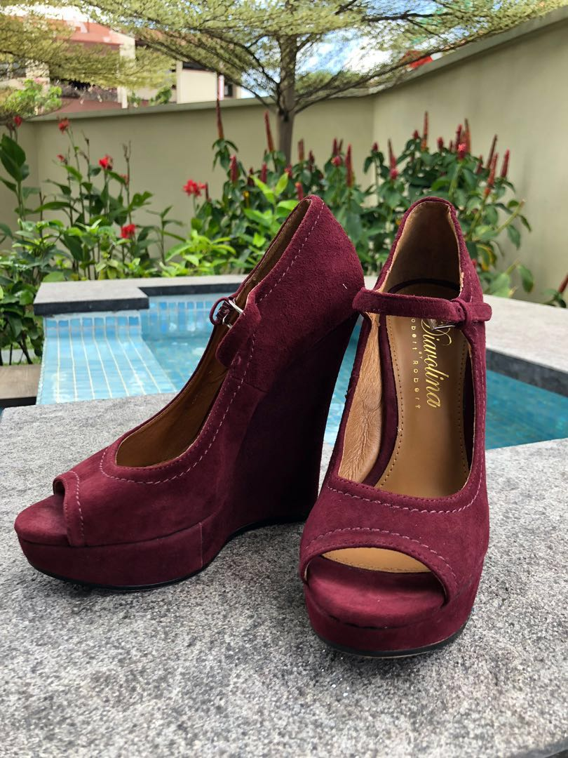 f216ce2aff8e0 Berry Mary Jane Open Toe Leather Wedge Heels, Women's Fashion, Shoes ...