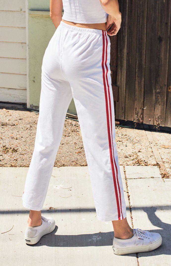 Brandy Melville John galt white sweatpants with red stripes