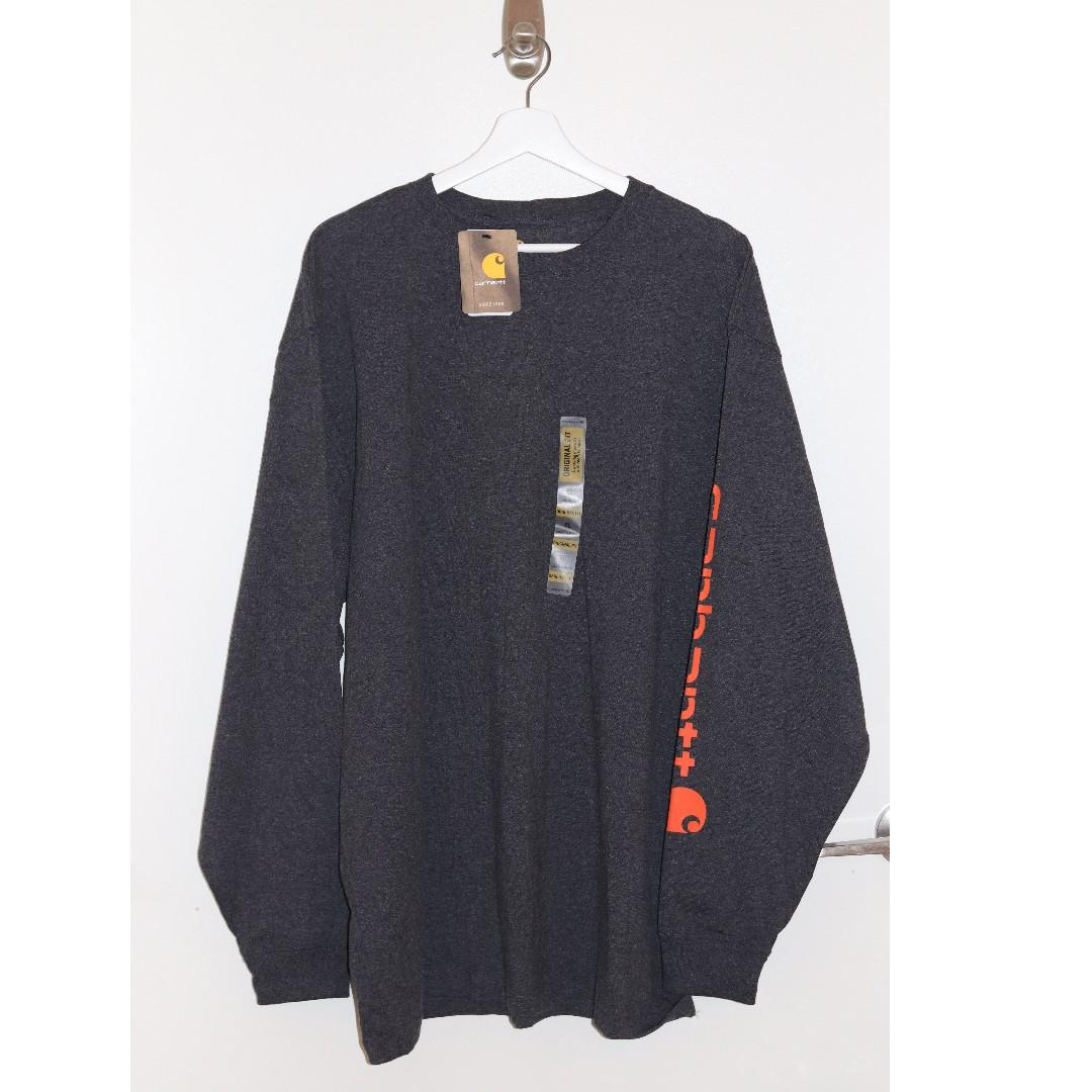 Carhartt Long Sleeve Logo Shirt Dark Gray Orange Mens XL Regular NWTS
