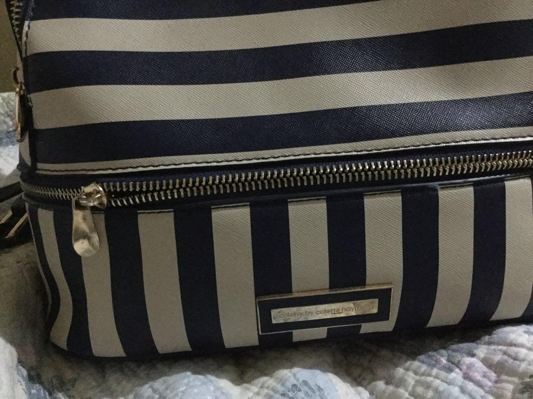 Colette dark blue stripe backpack