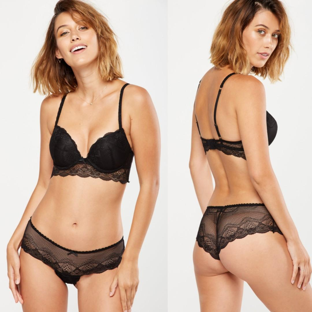 Cotton On Body Black Cindy Up2 Push Up Bra with Matching Undies