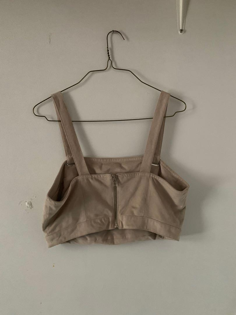 Cropped faux suede straight across square neckline crop top w/ zipper