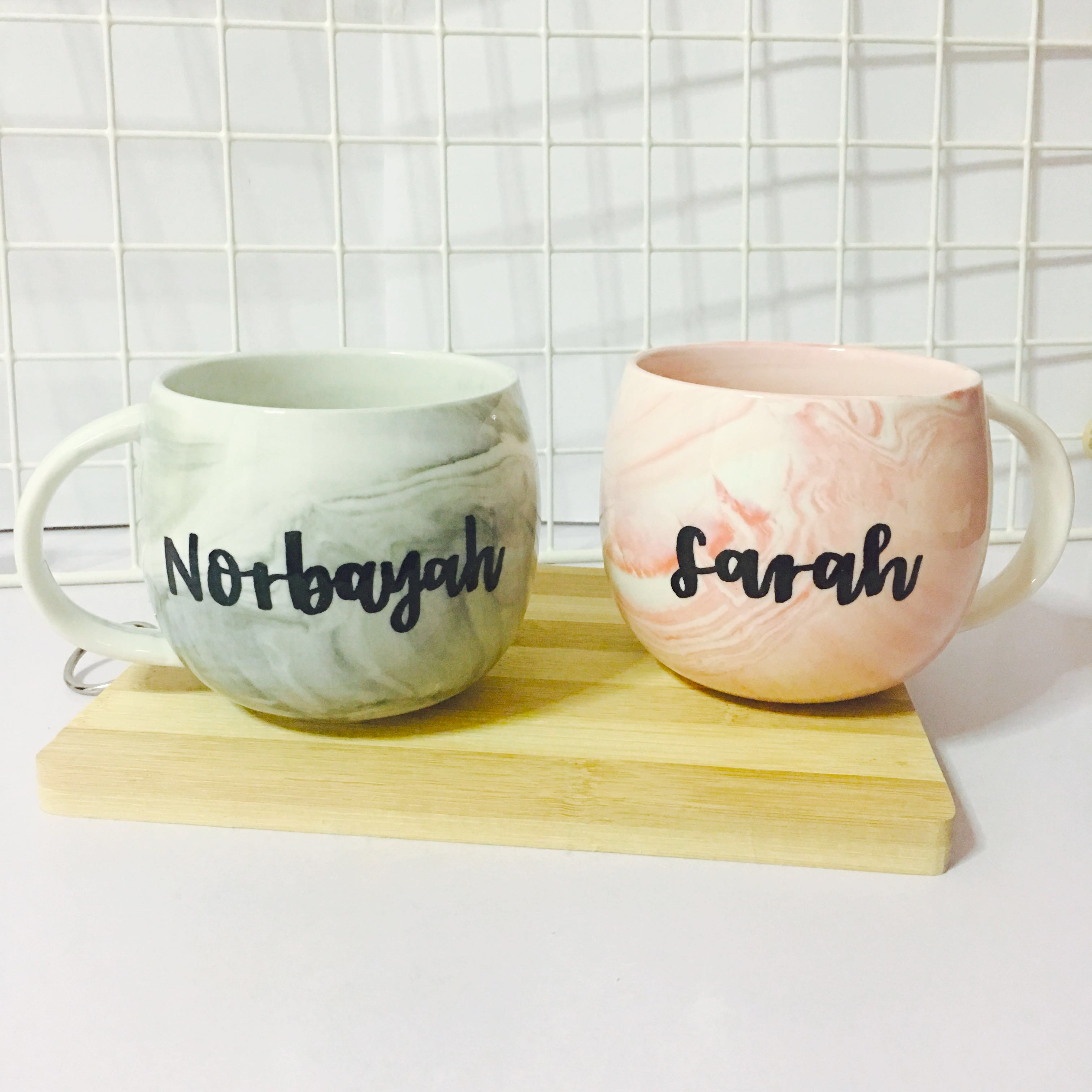 Customisable Marble Mugs Calligraphy Day Wedding Birthday Gift Gifts