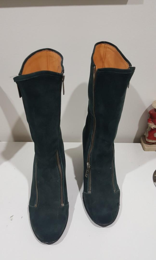 D.CO Copenhagen green suede double zip boots - size  40