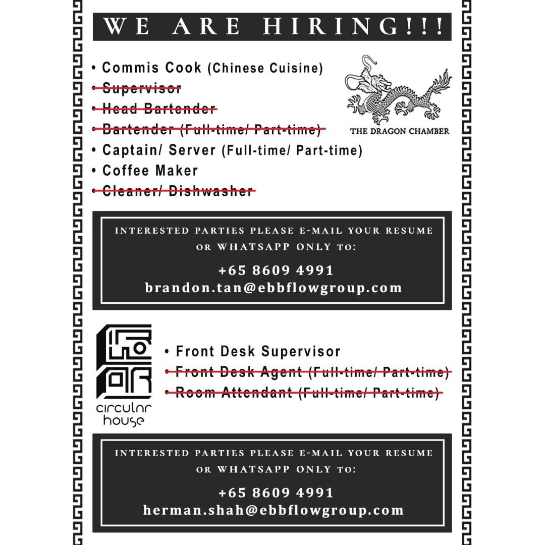 F&B & Hospitality Positions for Singaporeans/PRs (New Shops