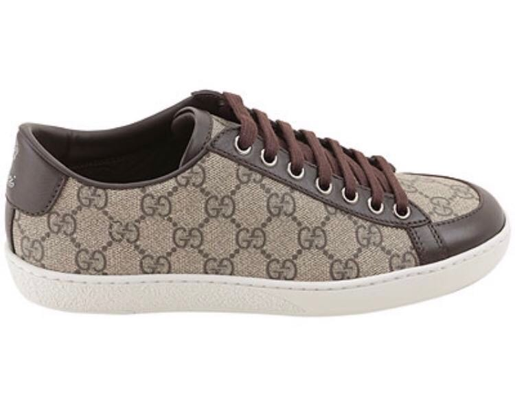 48e7f556d30ab Gucci Brown GG Supreme Ladies Canvas   Leather Brooklyn Sneakers ...