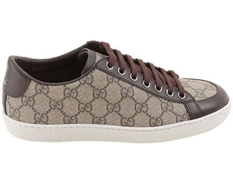 e4f8296c854 Gucci Brown GG Supreme Ladies Canvas & Leather Brooklyn Sneakers ...