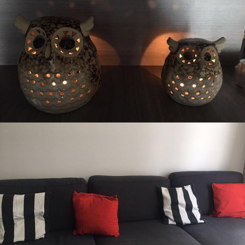 Ikea 4 Throw Pillows With Home Decor Owls Candle Holder Furniture Home Decor Cushions Linen On Carousell
