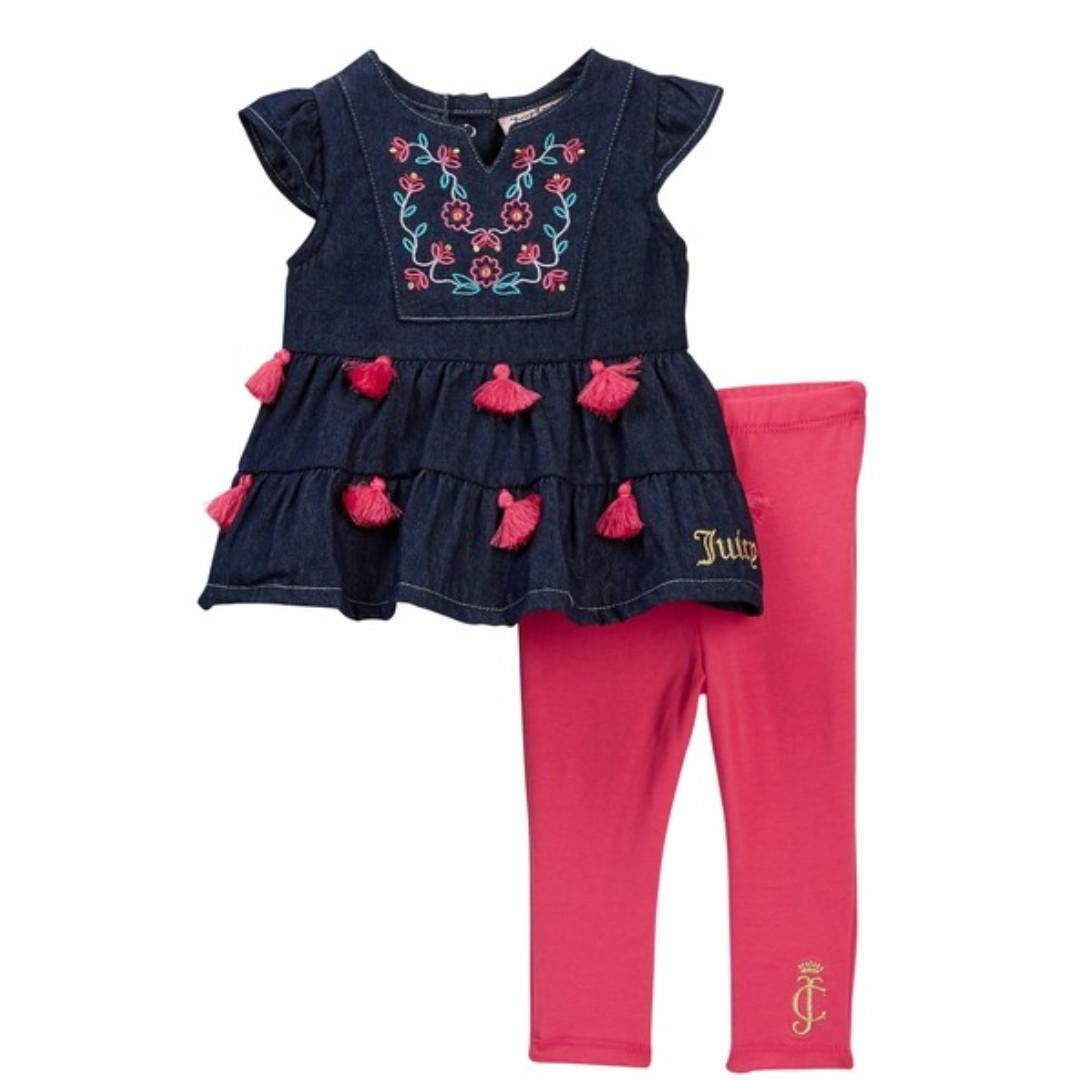 Juicy Couture Embroidered Lightweight Denim Tunic & Legging Set Baby Girls 12-24