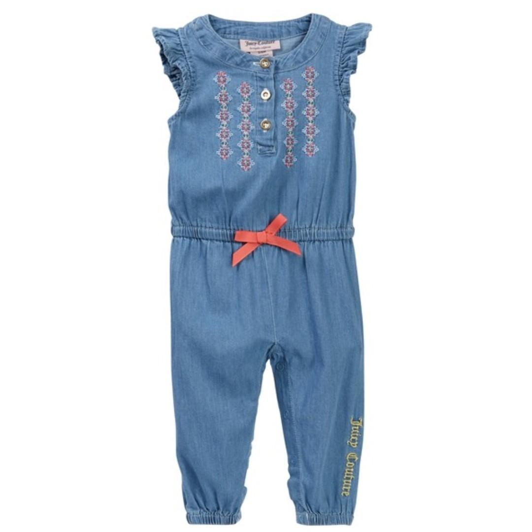 Juicy Couture Lightweight Denim Embroidered Jumpsuit Baby Girls 18-24 M NWTS