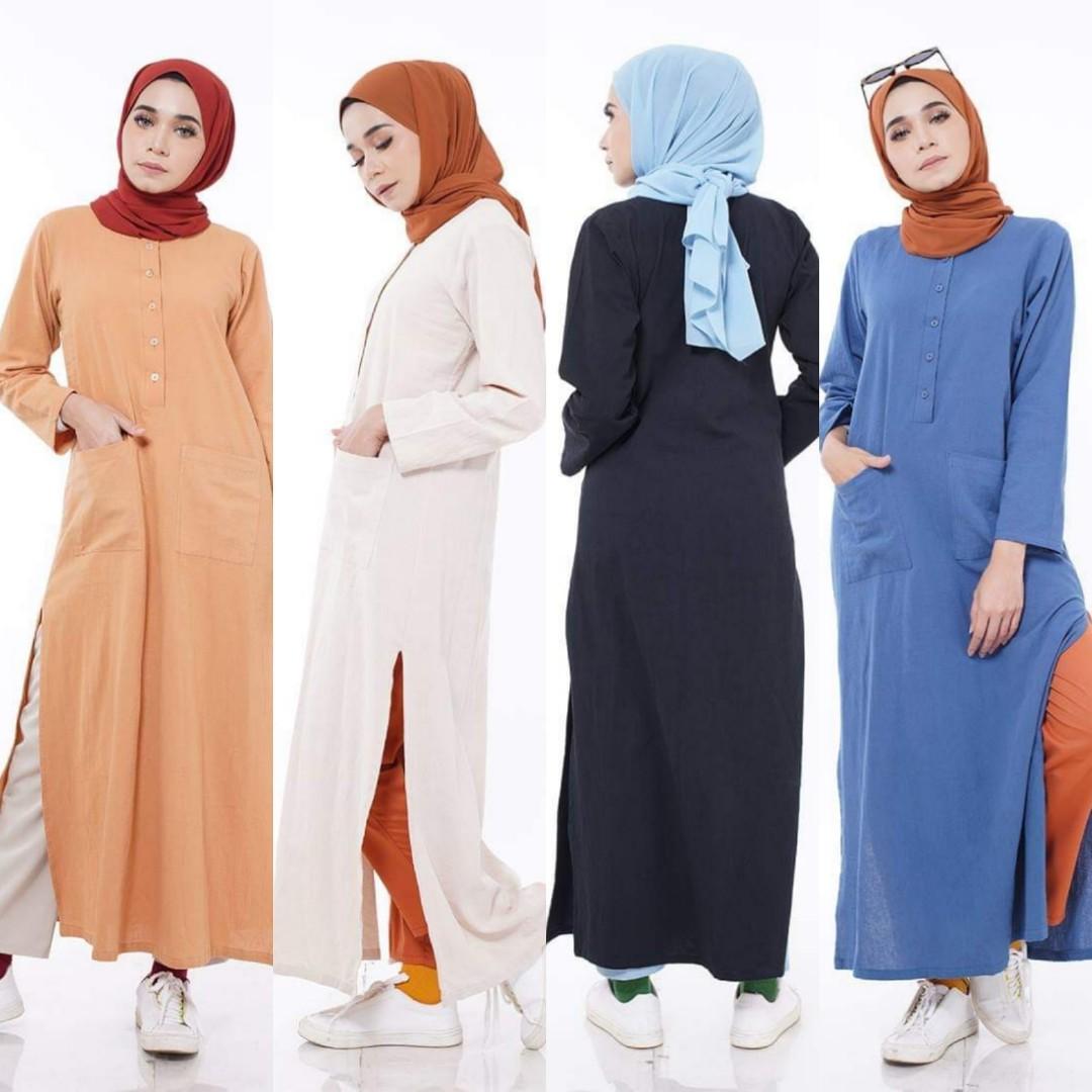424b1c2d1de LINEN LONG TOP baju blouse peplum kurta kurti labuh tunic tunik instant,  Women's Fashion, Muslimah Fashion on Carousell