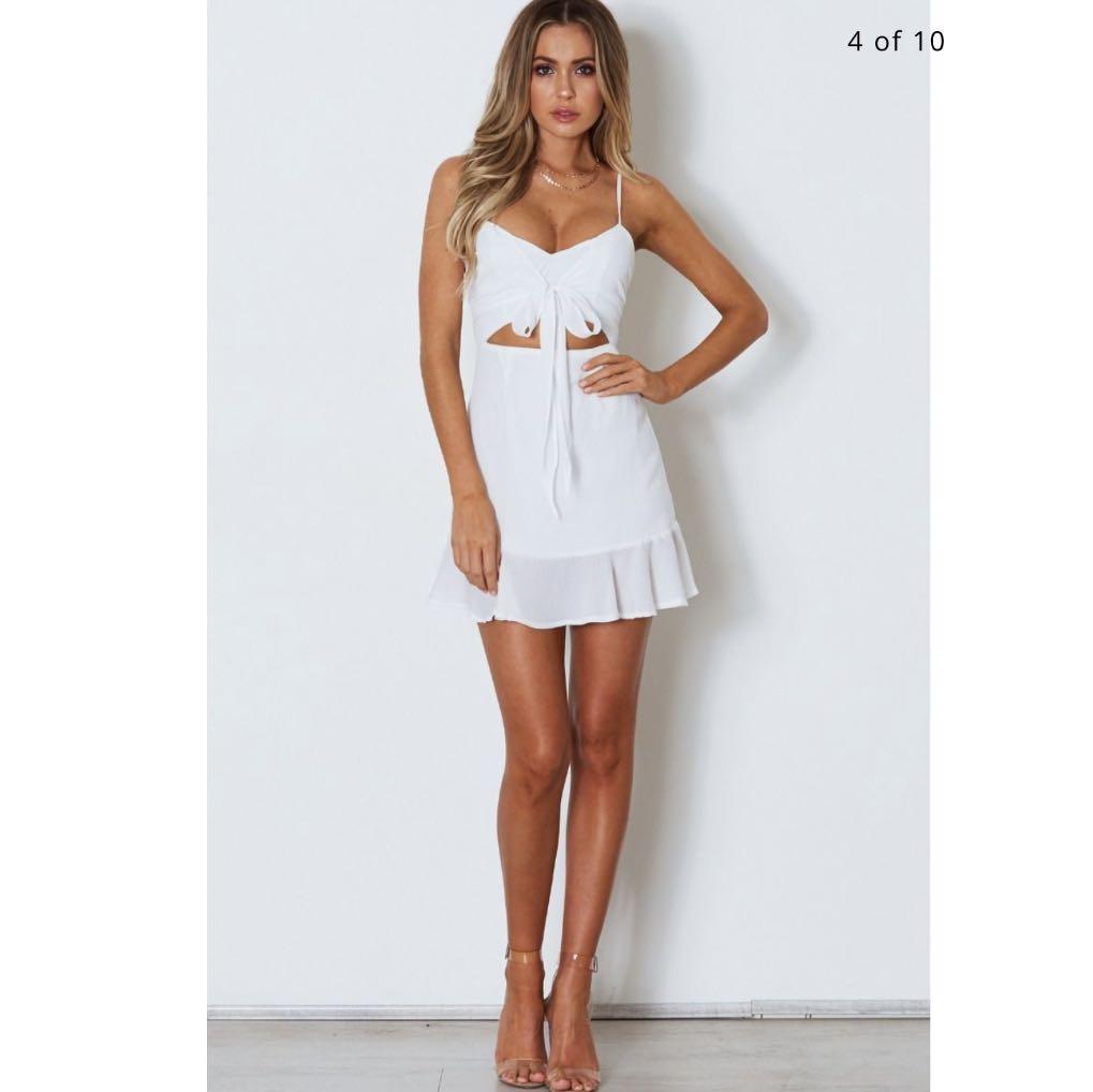 Luvalot White Tie Front Mini Dress Size 6