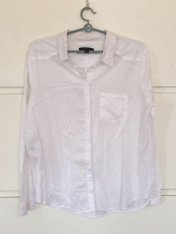 cf4615c995a6f Mango Off-White Long Sleeve Blouse