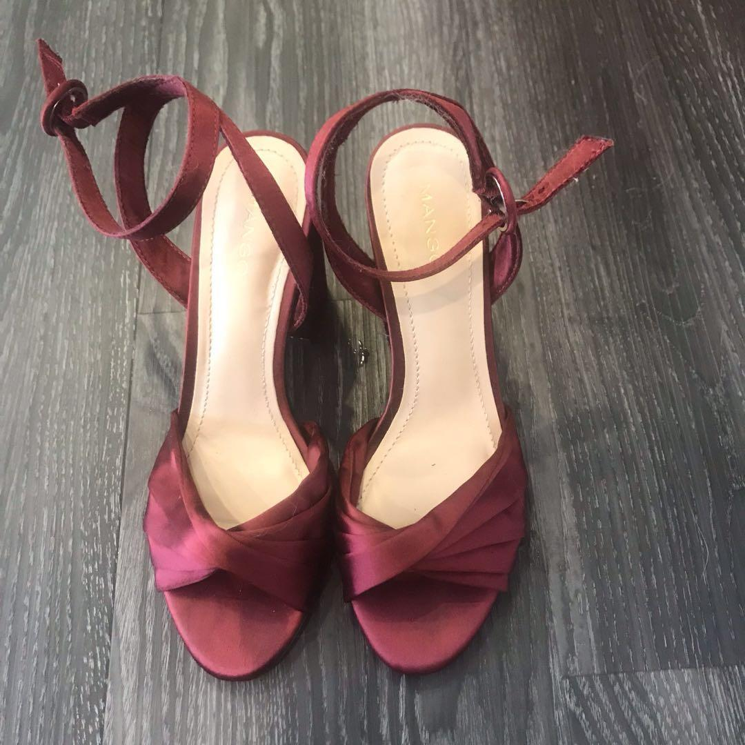 977dfbe29d2 Mango Red Heeled Sillky Sandal Shoe, Women's Fashion, Shoes, Heels ...