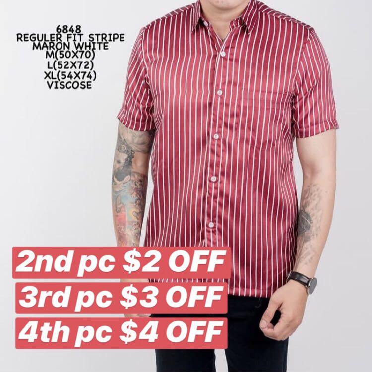 bab00a71 Men's Short Sleeve Shirt Stripe Maroon White, Men's Fashion, Clothes ...