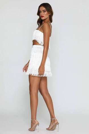 0fa63dd0f9a51 Meshki Sofia Fringe crop top   skirt