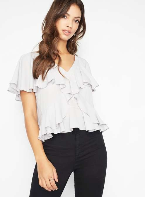 1758a97d754245 Miss Selfridge grey ruffle front blouse top