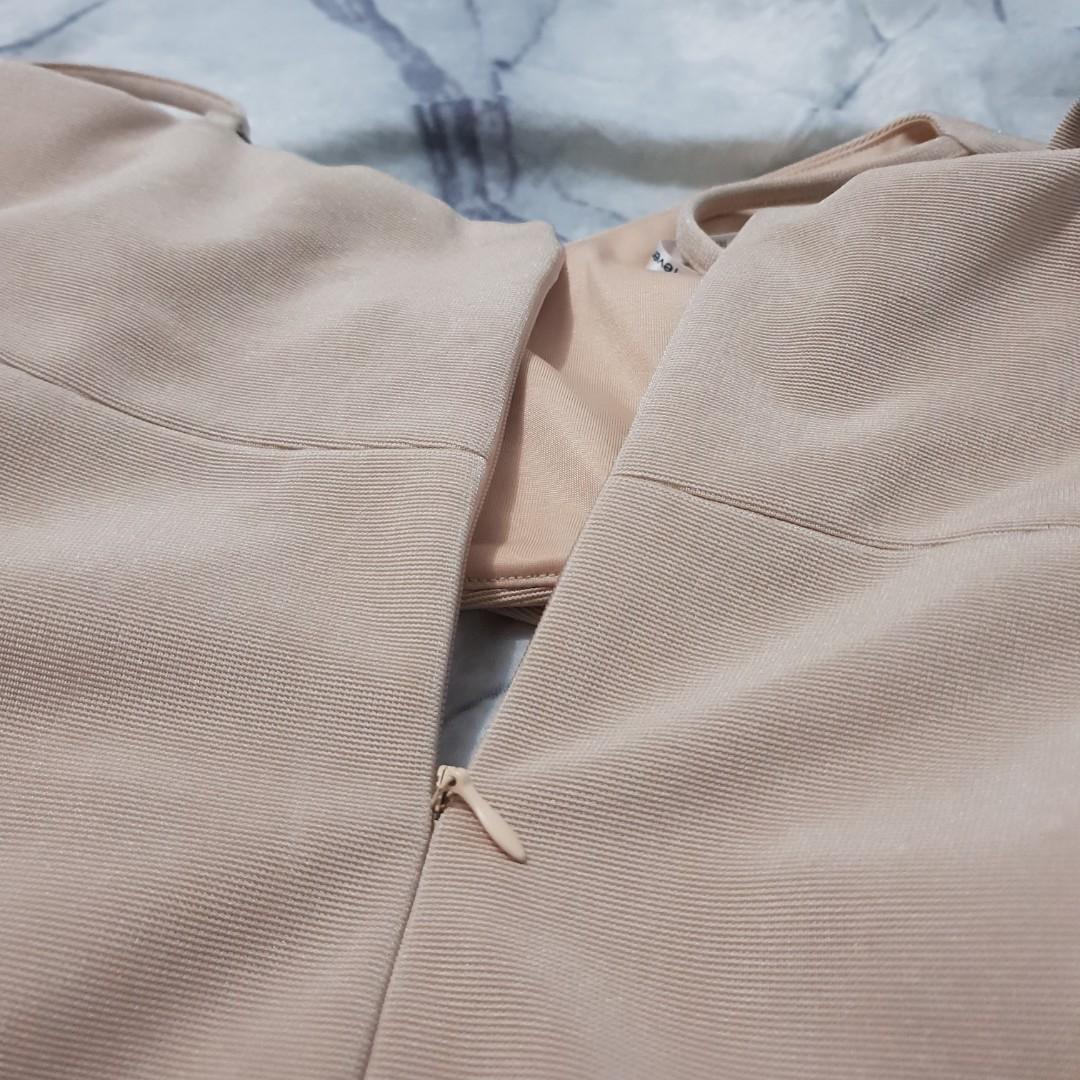 nude crossed midi dress